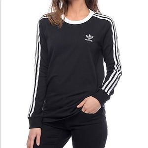 🖤 ADIDAS Women's Striped Long Sleeve with Logo 🖤